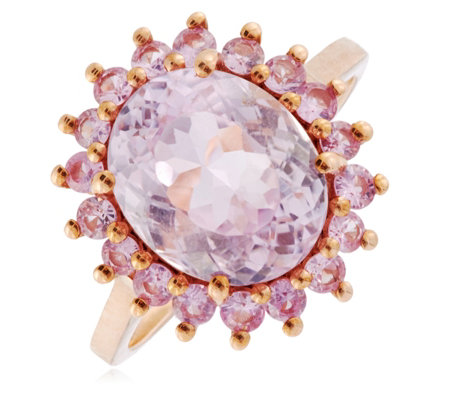 4.00ct Kunzite & 0.70ct Pink Sapphire Halo Cocktail Ring 9ct Gold