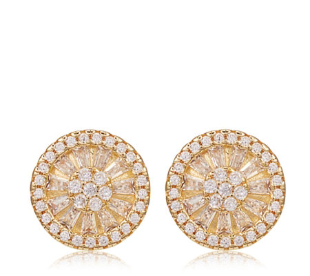 Diamonique 5.2ct tw Baguette Stud Earrings Sterling Silver