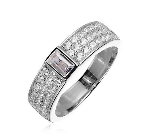 Diamonique 0.7ct tw Pave Band Ring Sterling Silver