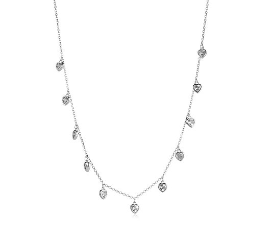 Diamonique 1.6ct tw Droplet 40cm Necklace with 5cm Extender Sterling Silver