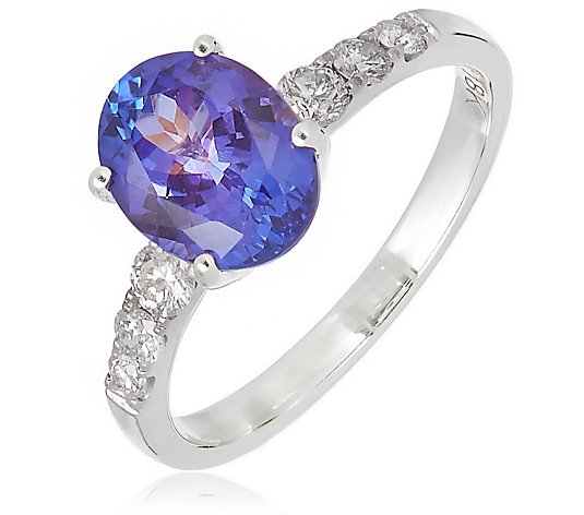 2.00ct AAAA Tanzanite Oval 0.25ct Diamond Shoulder Ring 18ct Gold