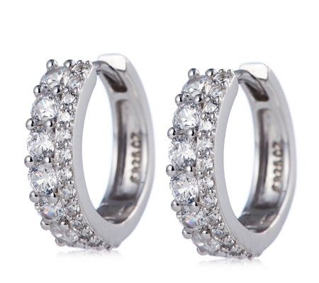 Diamonique 0.9ct tw Double Row Hoop Earring Sterling Silver