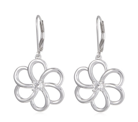 Diamonique 0.3ct tw Flower Leverback Earrings Sterling Silver