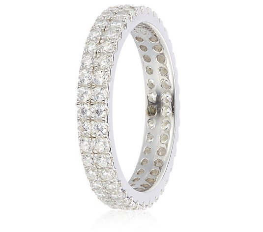 Diamonique 0.6ct tw Double Row Eternity Ring Sterling Silver