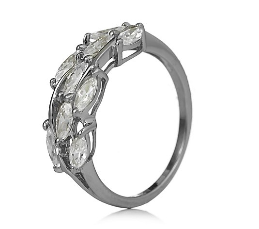Diamonique 1.3ct tw Marquise Cut Olive Leaf Ring Sterling Silver