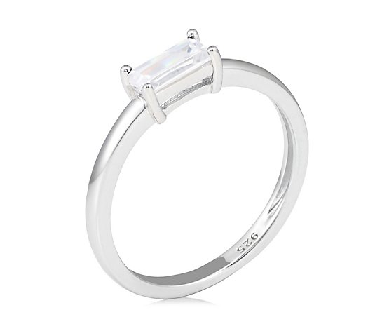 Diamonique 0.3ct tw East West Baguette Ring Sterling Silver