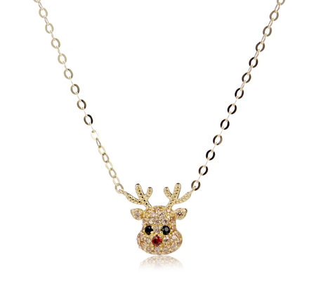 Diamonique 0.36ct tw Reindeer Necklace 45cm Sterling Silver