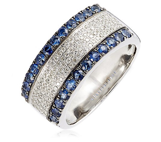 1.10ct Sapphire & 0.30ct Diamond Cocktail Band Ring 9ct Gold