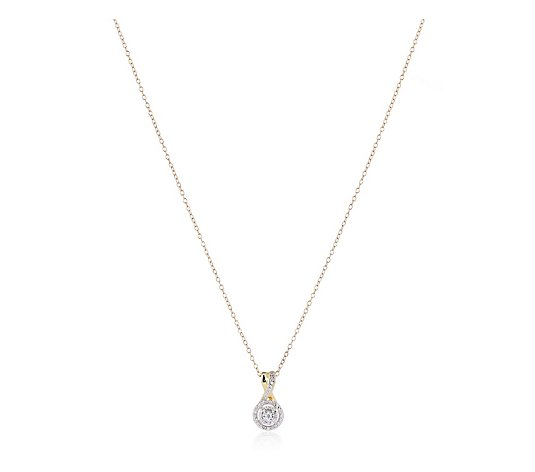 0.12ct Diamonds Round Halo 46cm Necklace Sterling Silver