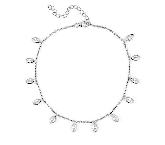 Diamonique 3ct tw Marquise Drop Anklet Sterling Silver
