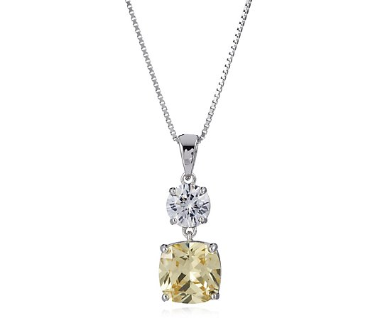 Michelle Mone for Diamonique 5ct tw Cushion Cut Pendant & Chain Sterling Silver