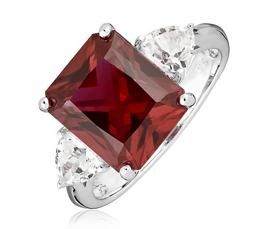 6.72ct Created Gemstone Octagon & Trillion Cocktail Ring Sterling Silver