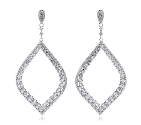 Michelle Mone for Diamonique 5.5ct tw Tear Drop Earrings Sterling Silver