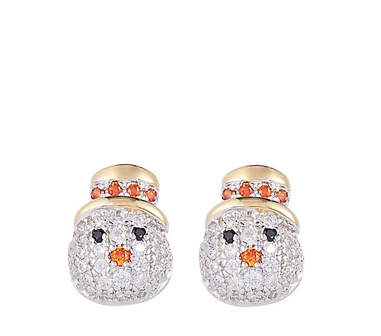 Diamonique 0.2ct tw Snowman Stud Earrings Sterling Silver