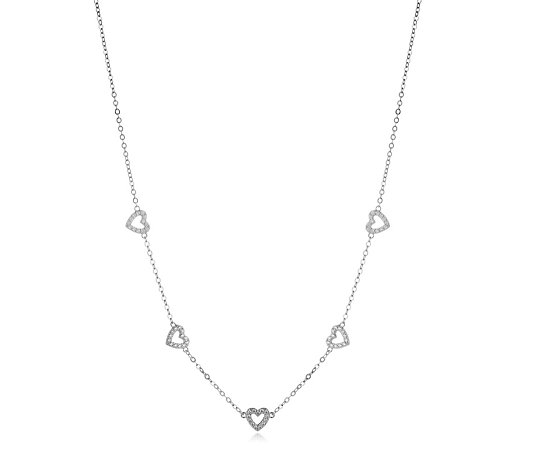 Diamonique 0.6ct tw Heart Station Necklace Sterling Silver