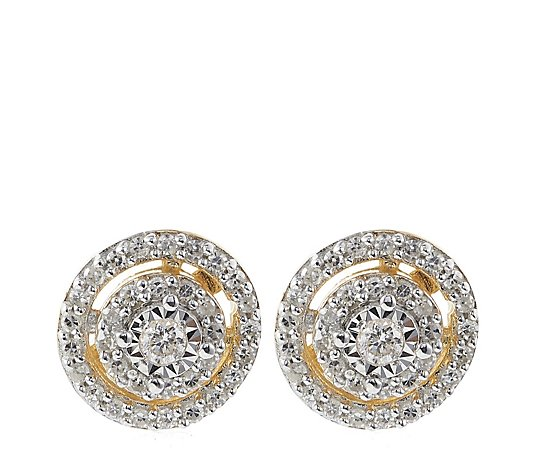 0.20ct Diamonds Round Halo Stud Earring Sterling Silver