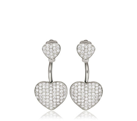 Folli Follie Fashionably Silver Love Hearts Earrings