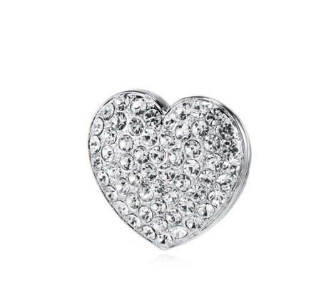 Frank Usher Crystal Heart Magnetic Brooch