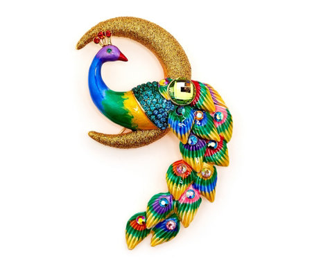 Butler & Wilson Peacock on a Half Moon Brooch