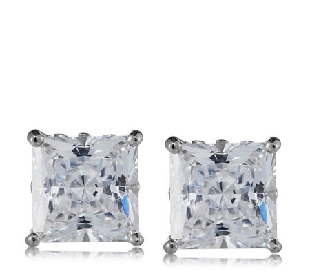c210e0ab6 Diamonique 2.5ct tw Princess Cut Stud Earrings Sterling Silver - QVC UK