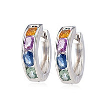 1.50ct Multi Sapphire Hoop Earrings Sterling Silver - 339991