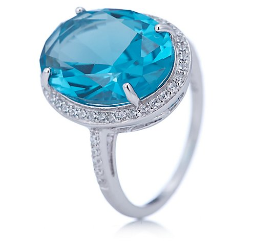 Diamonique 10ct tw Simulated Paraiba Oval Ring Sterling Silver