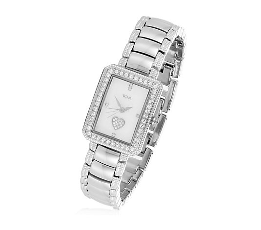 Diamonique by Tova 0.7ct tw Bracelet Watch Stainless Steel