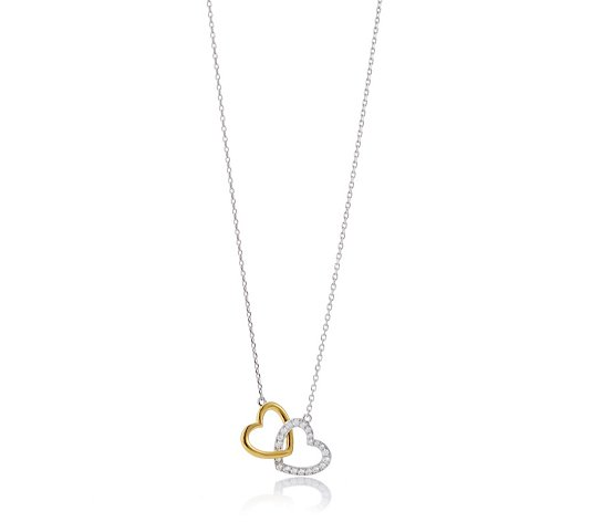 Diamonique 0.2ct tw Double Heart Pendant & Chain Sterling Silver