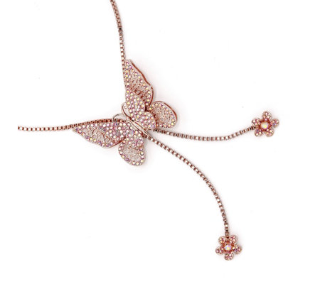Butler & Wilson Crystal Butterfly 79cm Necklace