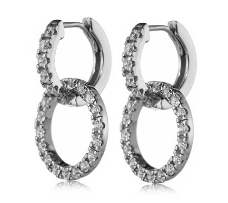 Diamonique 0.3ct tw Mini Double Circle Hoop Earrings Sterling Silver