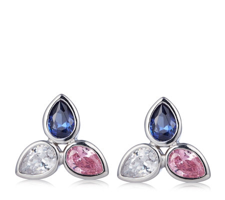 Diamonique 3ct tw Tri Coloured Stud Earrings Sterling Silver