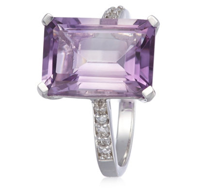 6.50ct Gemstone Octagon & 0.12ct White Topaz Cocktail Ring Sterling Silver