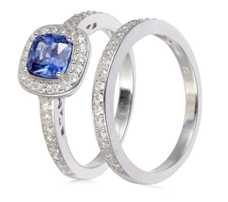 Diamonique 1.5ct tw Simulated Tanzanite Set of 2 Rings Sterling Silver