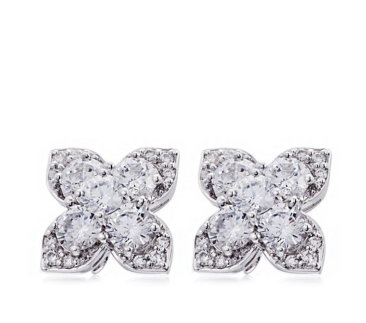 Diamonique 4.8ct tw Floral Stud Earrings Sterling Silver