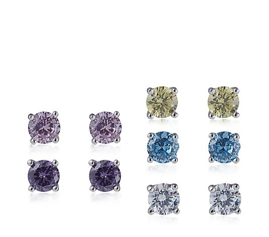 Diamonique 1ct tw Set of 5 Stud Earrings Sterling Silver