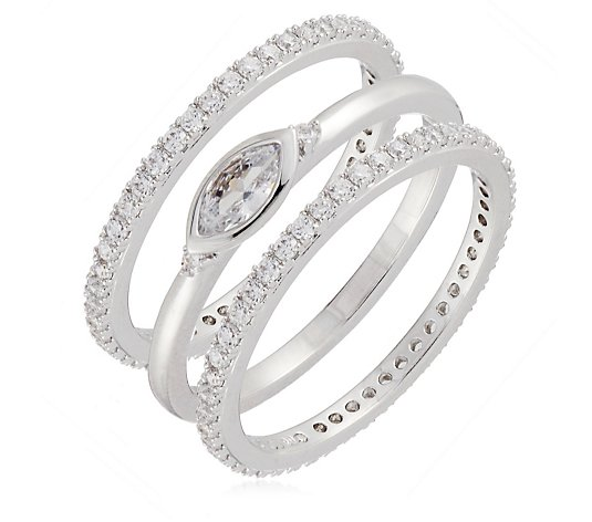 Escape by Melissa Odabash Marquise Cut Set of 3 Rings Sterling Silver