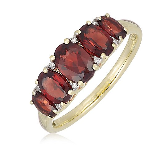 2.00ct Garnet & Diamond Estate Collection 5 Stone Oval Ring 9ct Gold