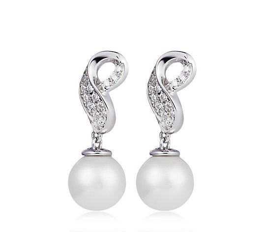 Diamonique 0.2ct tw Twist Simulated Pearl Drop Earrings Sterling Silver