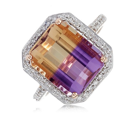 5.25ct Rectangular Ametrine & 0.38ct Diamond Halo Ring 9ct Gold