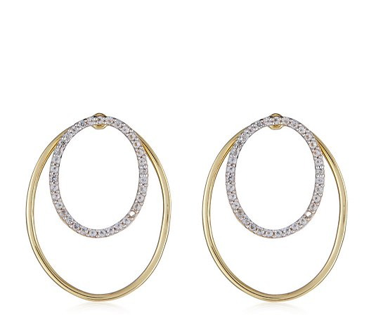 K by Kelly Hoppen Double Hoop Earrings with Removable Pave Sterling Silver