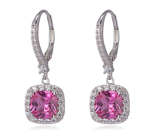 Diamonique 3.9ct tw Leverback Earrings Sterling Silver