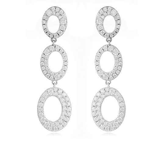 Diamonique 2.20ct tw Pave Oval Earrings Sterling Silver