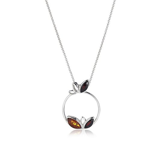Amber Jewellery Designs Circle Pendant 46cm Chain Sterling Silver