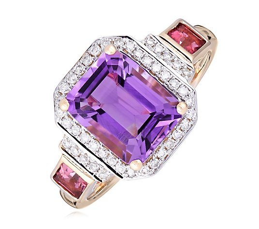 Outlet 2.25ct Amethyst 0.25ct Pink Tourmaline 0.15ct Diamond Ring 9ct Gold