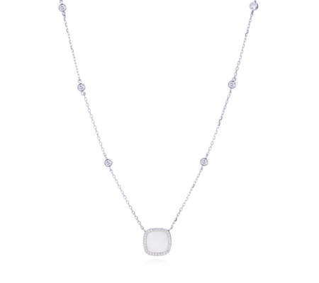 Diamonique 0.3ct tw Station Mother of Pearl 42cm Necklace Sterling Silver