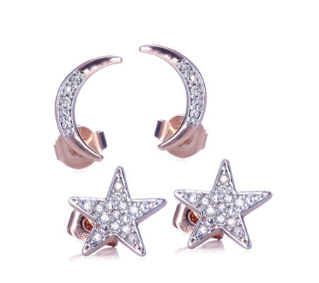 Lisa Snowdon To The Moon & Back Diamond Star & Moon Earrings Sterling Silver