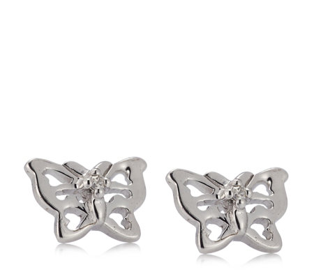 D for Diamond Butterfly Stud Earrings Sterling Silver