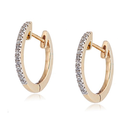 0.10ct Diamond Oval Hoop Earrings 9ct Gold