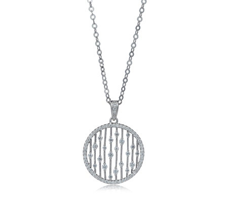 Diamonique 0.5ct tw Open Droplet Pendant & Chain Sterling Silver
