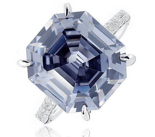 Diamonique 11.6ct tw Simulated Grey Diamond Ring Sterling Silver